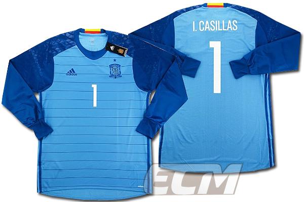 【予約ECM32】【国内未発売】スペイン代表 GK ホーム 長袖 プレイヤーモデル 1番カシージャス【サッカー/16-17/ワールドカップ/Spain】