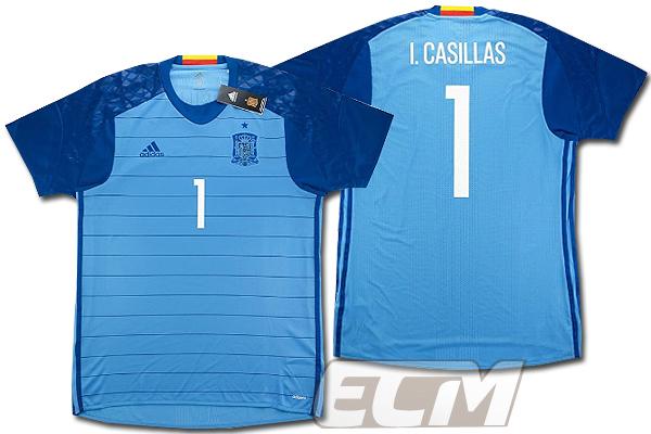 【予約ECM32】【国内未発売】スペイン代表 GK ホーム 半袖 プレイヤーモデル 1番カシージャス【サッカー/16-17/ワールドカップ/Spain】