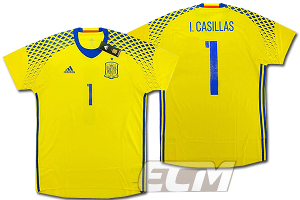 【予約ECM32】【国内未発売】スペイン代表 GK アウェイ 半袖 プレイヤーモデル 1番カシージャス【サッカー/16-17/ワールドカップ/Spain】