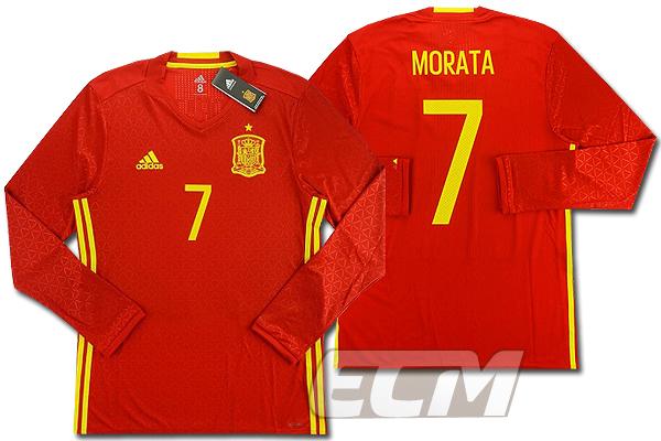 【予約ECM32】【国内未発売】スペイン代表 ホーム 長袖 7番モラタ オーセンティックモデル【16-17/サッカー/ワールドカップ/INIESTA/ユニフォーム】