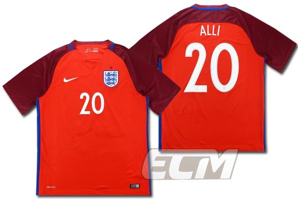 【予約ECM32】イングランド代表 アウェイ 半袖 20番 デレ・アリ【16-17/ENGLAND/Dele Alli/サッカー/ユニフォーム】