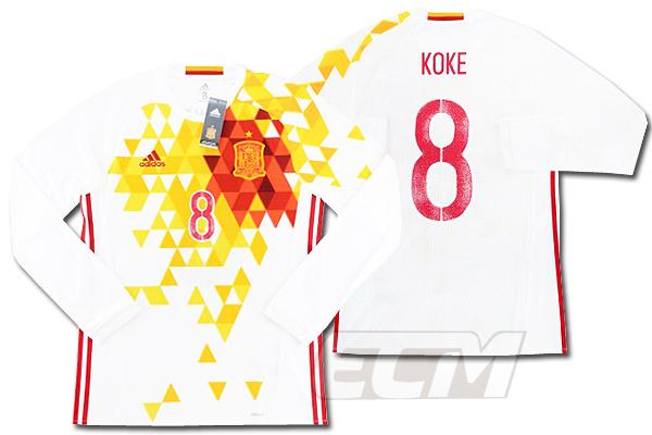 【予約ECM32】【国内未発売】スペイン代表 アウェイ 長袖 8番コケ プレイヤーズモデル【16-17/サッカー/ワールドカップ/KOKE/ユニフォーム】
