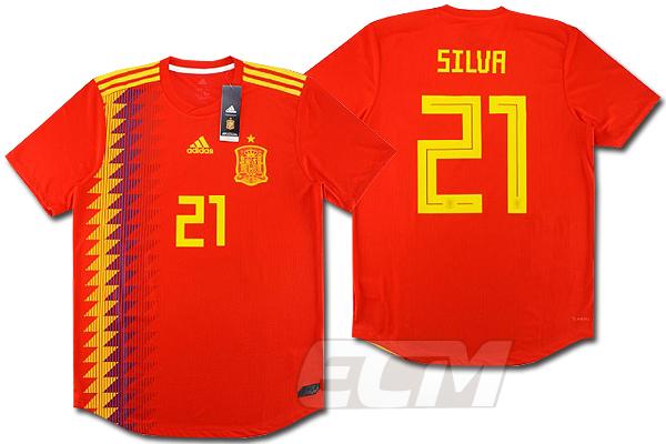 【予約ECM32】【国内未発売】スペイン代表 ホーム 半袖 オーセンティックモデル 21番 ダビド・シルバ【サッカー/18-19/World Cup/David Silva】