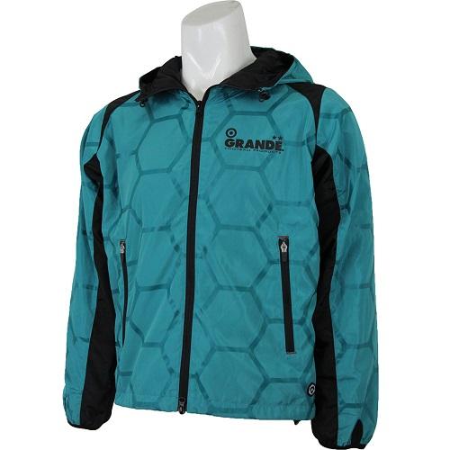 【SALE35%OFF】【GS018】GRANDE HEXAGON フードジャケット アクアxブラック【グランデ/サッカー/フットサル/サポーター/トレーニング】