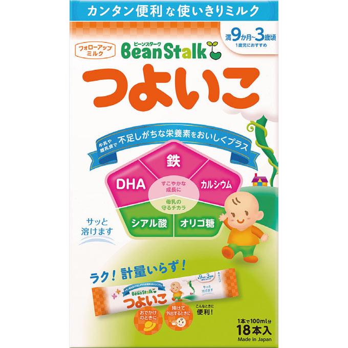 1歳~3歳頃のお子様の発育に重要な鉄とDHA。牛乳では摂りにくい栄養素を補うため1歳のお誕生日頃から育児にプラスしていただきたいフォローアップミルクです。 ビーンスタークつよいこスティック【14g×18本】【smtb-TD】【すこやか/ベビー/ミルク/フォローアップ/携帯用】