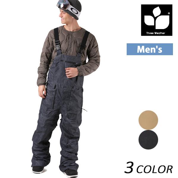 送料無料 メンズ スノーボード ウェア ビブパンツ THREE WEATHER スリーウェザー BIB PANTS TW-002BIB 17-18モデル メンズ EE K13
