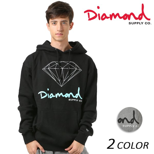 送料無料 メンズ パーカー Diamond Supply Co. ダイヤモンド サプライ LOGO OG SIGN HOODIE Z18DMPF002CR FF1 D3