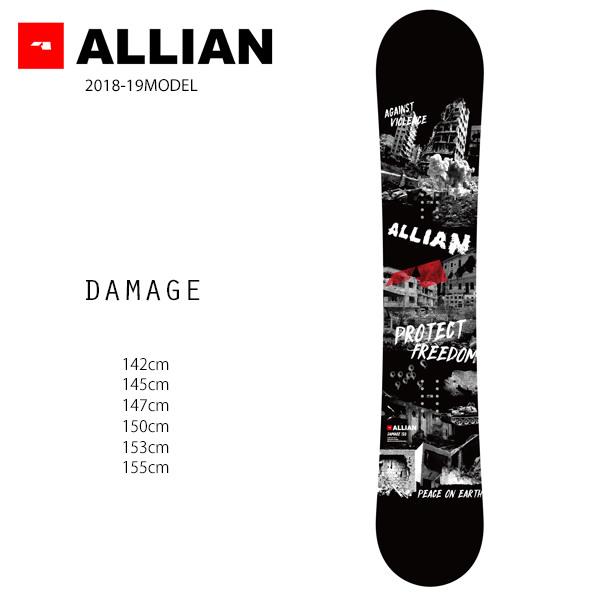 クーポン対象商品 予約販売 10月中旬入荷予定 スノーボード 板 ALLIAN アライアン DAMAGE ダメージ 18-19モデル メンズ FF G11