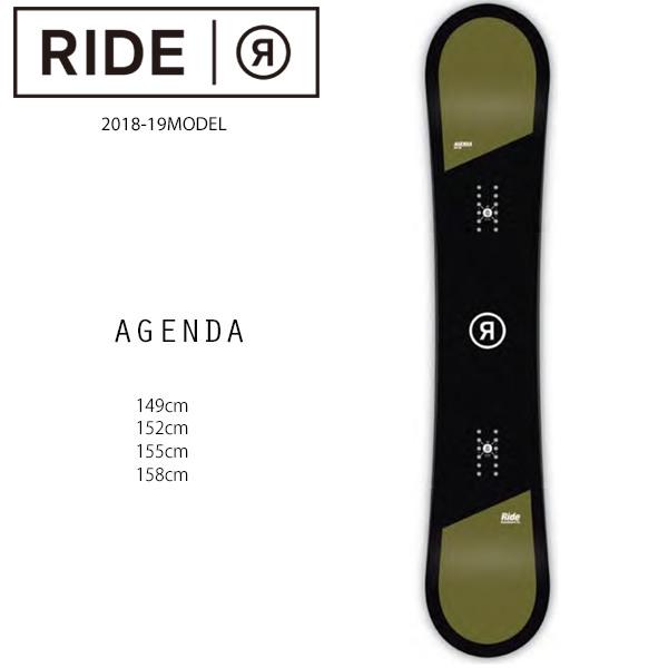 クーポン対象商品 予約販売 10月中旬入荷予定 スノーボード 板 RIDE ライド AGENDA アジェンダ 18-19モデル メンズ FF H1
