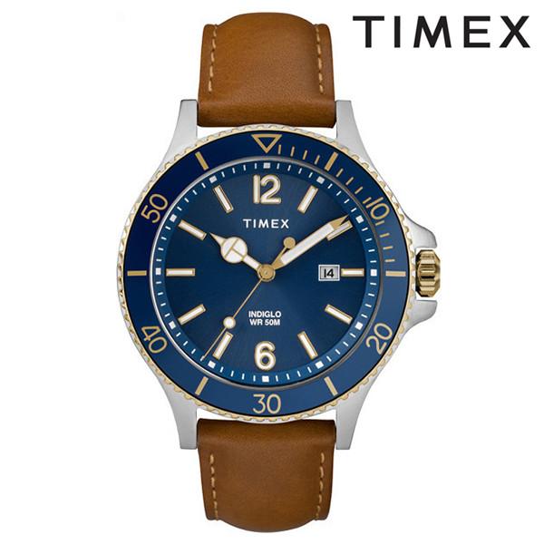 送料無料 時計 TIMEX タイメックス ハーバーサイド TW2R64500 ブルー ネイビー タン レザー FF J15 MM