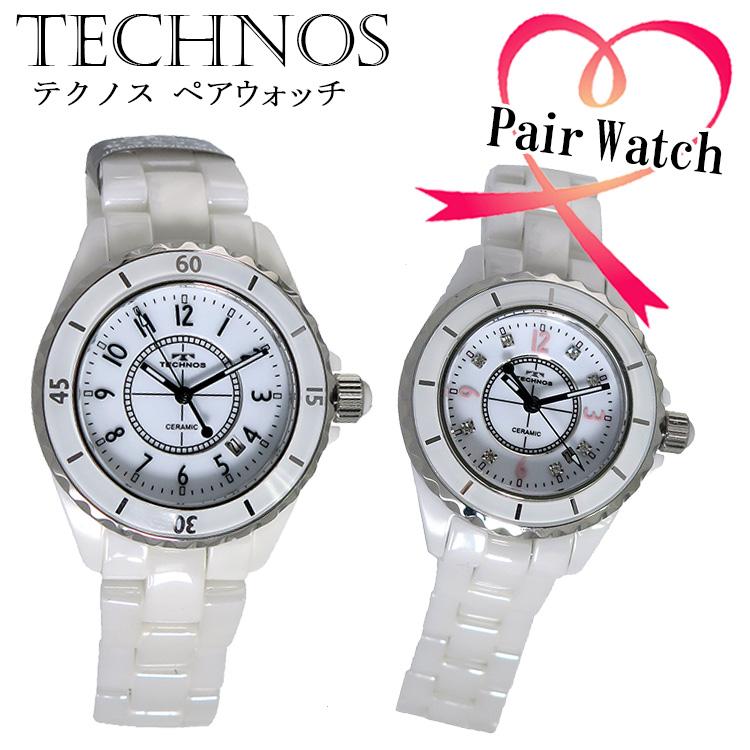 ペアウォッチ テクノス TECHNOS クオーツ 腕時計 T9438TW T9861TW ホワイト 代引き手数料無料 ギフト プレゼント クリスマス 誕生日 記念日 贈り物 人気 おしゃれ ペア 祝い セール 結婚式 お呼ばれ