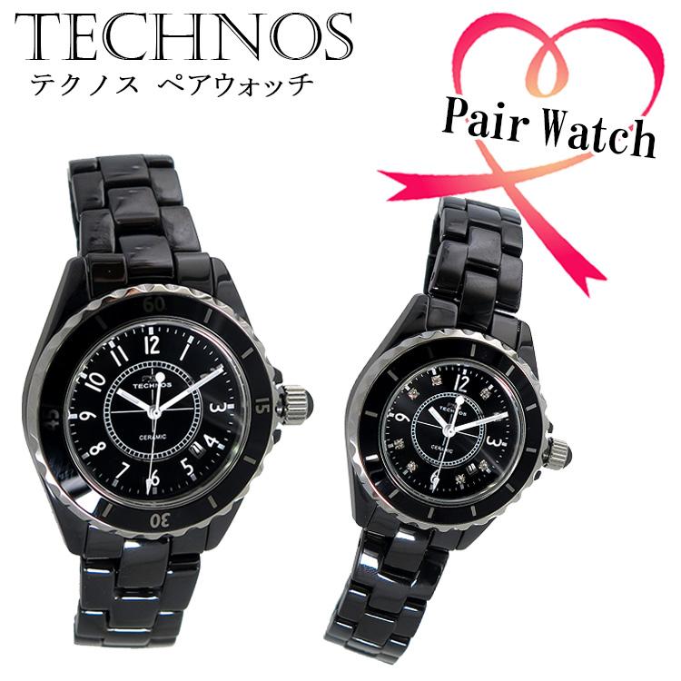 ペアウォッチ テクノス TECHNOS クオーツ 腕時計 T9438TB T9861TB ブラック代引き手数料無料 ギフト プレゼント クリスマス 誕生日 記念日 贈り物 人気 おしゃれ ペア 祝い セール 結婚式 お呼ばれ