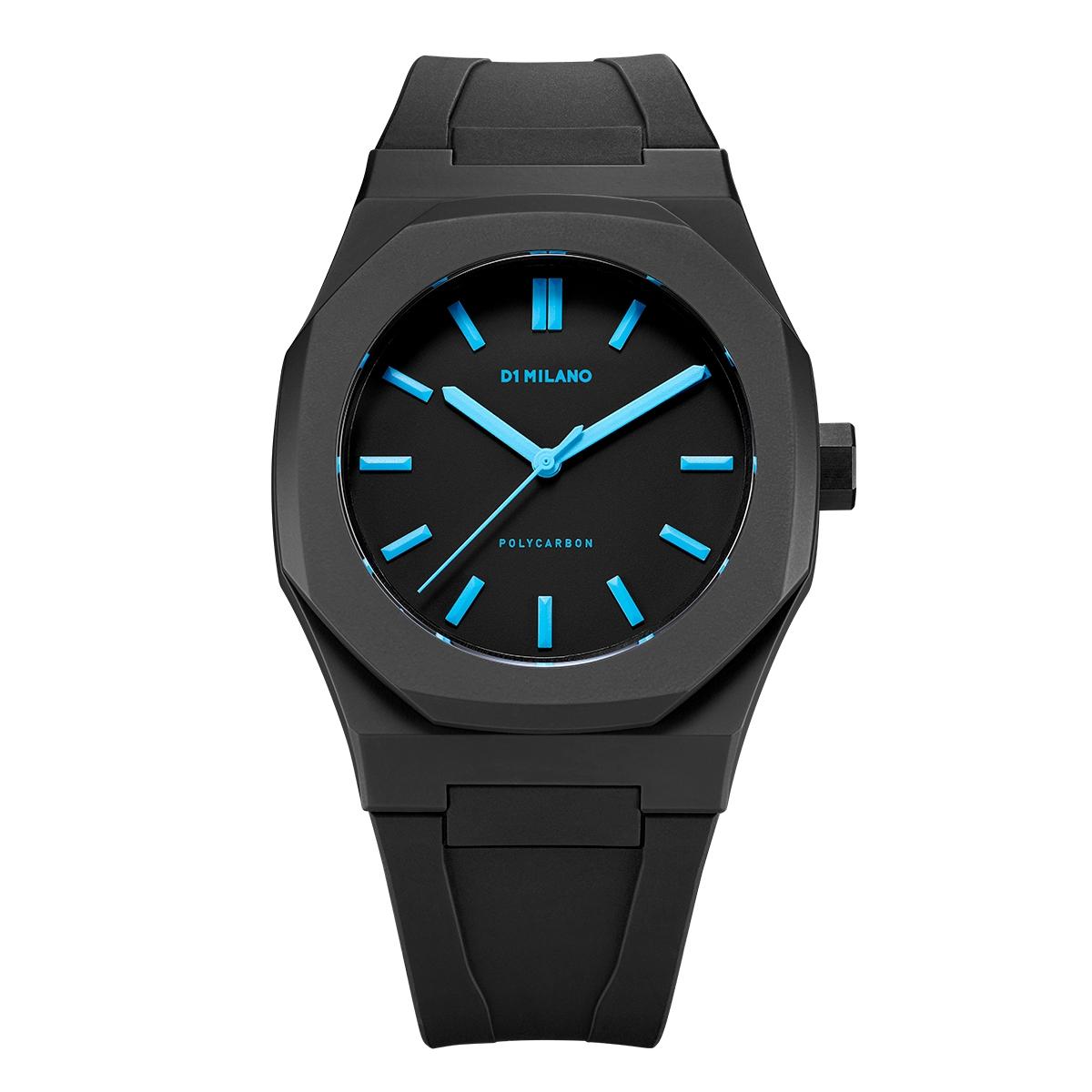 D1ミラノPCRJ07 Neon Watch Black with Blue Index with rubber strap 腕時計 メンズ レディース 有名人 愛用D1 MILANO ディーワン ミラノ 代引き 手数料無料 ギフト プレゼント クリスマス 誕生日 記念日 贈り物 人気 おしゃれ ペア 祝い セール 結婚式 お呼ばれ