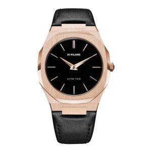 D1 MILANO ディーワンミラノ UTLJ03 Ultra Thin Watch Rose Gold, Black Leather strap, 腕時計 メンズ レディース 有名人愛用 代引き 手数料無料 ギフト プレゼント クリスマス 誕生日 記念日 贈り物 人気 おしゃれ ペア 祝い セール 結婚式 お呼ばれ