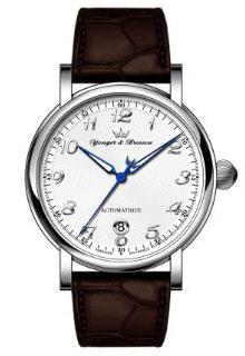ヨンガー&ブレッソン YBH8570-02 メンズ腕時計Yonger&Bresson フランス 自動巻 送料無料  ホワイト×ダークブラウン プレゼント 記念日 クリスマス 誕生日 贈り物 人気 お祝い ペア おしゃれ 結婚式 メンズ レディース