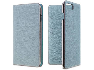 LORNA PASSONI ロルナパッソーニ German Shrunken Calf Folio Case for iPhone 8/7 Plus [Light Blue] LPLBLFLIP1755 正規代理店 品質保証ポリシー付きケース
