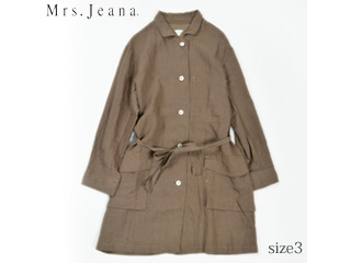 MrsJeana/ミセスジーナ リネンショップコート【ジンジャーブラウン】サイズ3■麻100%(GMT661 )