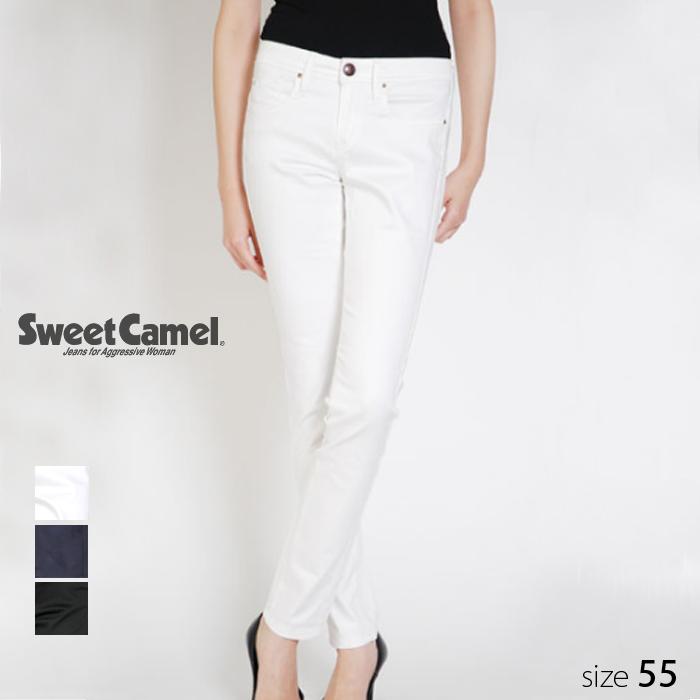 Sweet Camel/スウィートキャメル レディース ストレッチサテン スキニー デニム パンツ (01 ホワイト 白 /サイズ55) SA-9141