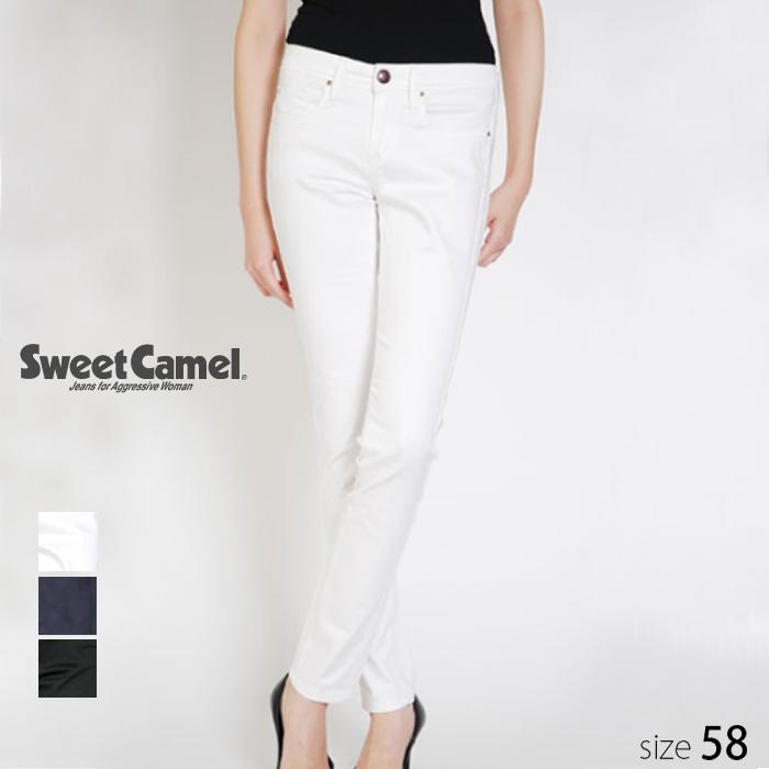 Sweet Camel/スウィートキャメル レディース ストレッチサテン スキニー デニム パンツ (01 ホワイト 白 /サイズ58) SA-9141