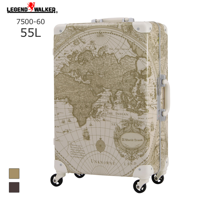 World Trunk/ワールドトランク 7500-BG 地図柄トランクケース (55L/ベージュ地図柄) T&S(ティーアンドエス) 旅行 キャリー Mサイズ