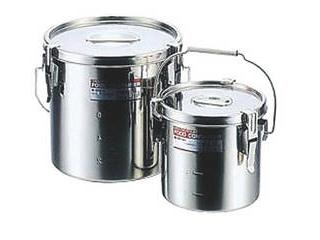※こちらの商品は【27cm目盛付(15.0L)】のみの単品販売になります。 モリブデンテーパーパッキン汁食缶 27cm目盛付(15.0L)