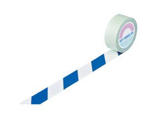 J.G.C./日本緑十字社 ガードテープ(ラインテープ) 白/青(トラ柄) 50mm幅×100m 148065