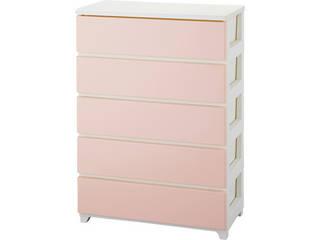 カラースタイルチェストワイド5段ホワイトピンク ホワイトピンク C-STYLE-W5WHPK