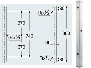 KAKUDAI/カクダイ ステンレス水栓柱(分水孔つき)/60角 624-114