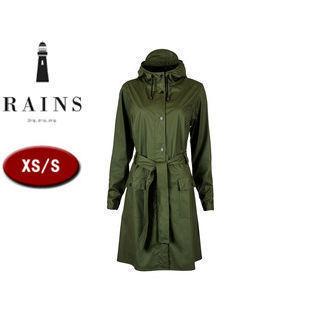 RAINS/レインズ カーブジャケット レインジャケット 止水ファスナー 【XS/S】 (グリーン) 防水 撥水 レインコート 雨 雪 男女兼用 雨具 合羽