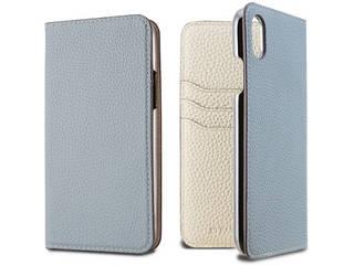 LORNA PASSONI ロルナパッソーニ German Shrunken Calf Folio Case for iPhone XR [Light Blue×Milkshake white] LPLBMFLIP1861 正規代理店 品質保証ポリシー付きケース