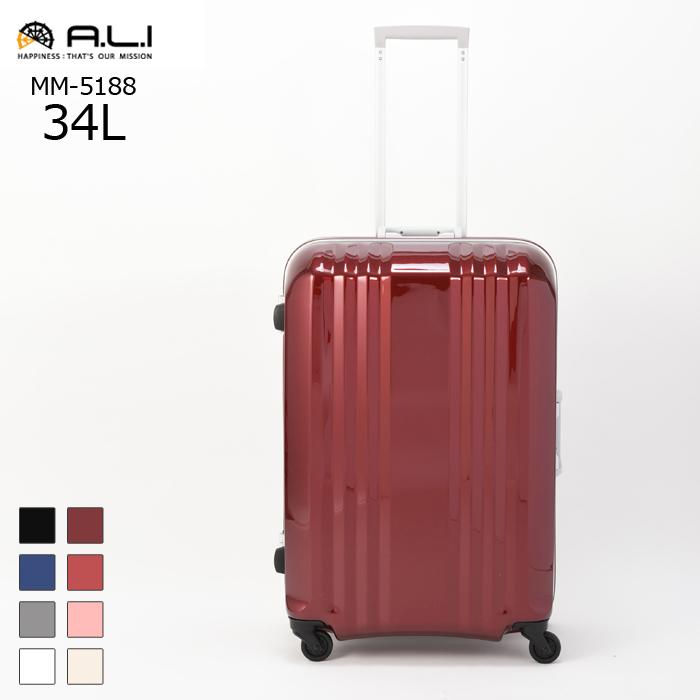 A.L.I/アジア・ラゲージ MM-5188 デカかる2 キャリーケース 機内持ち込み可能サイズ 【34L】(ワイン) 旅行 スーツケース キャリー 機内持ち込み 小さい 国内 Sサイズ 軽い