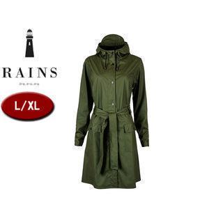 RAINS/レインズ カーブジャケット レインジャケット 止水ファスナー 【L/XL】 (グリーン) 防水 撥水 レインコート 雨 雪 男女兼用 雨具 合羽
