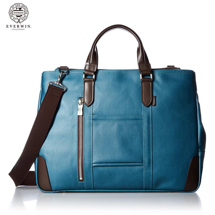 EVERWIN/エバウィン 21598 フィレンツェ メンズ キャンバスビジネスバッグ (ブルー) ショルダー 2way 日本製