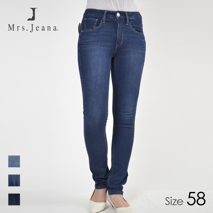 Mrs.jeana/ミセスジーナ レディース ストレッチタイトストレート デニム パンツ (R5 濃色USED/サイズ58) MJ4471