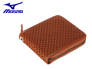 mizuno/ミズノ 1GJYG01300-31 グラブ革 ファスナー付二つ折り財布 型押し (チェストナッツ)