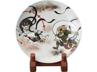 清水焼 清水焼 風神雷神図 (立付)飾り皿  KMG-187