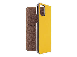 LORNA PASSONI ロルナパッソーニ LORNA PASSONI - German Shrunken Calf Folio Case for iPhone 11 Pro [Yellow×Taupe] LPYETFLIP1958 【正規代理店】 【品質保証ポリシー付きケース】