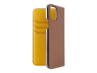 LORNA PASSONI ロルナパッソーニ LORNA PASSONI - German Shrunken Calf Folio Case for iPhone 11 Pro [Taupe×Yellow] LPTPYFLIP1958 【正規代理店】 【品質保証ポリシー付きケース】