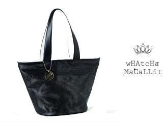 wHAtcHaMaCaLLit/ワチャマコリ パンチングトートバッグ 【ブラック】 【whatcha6】