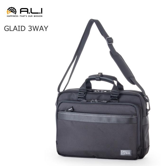 A.L.I/アジア・ラゲージ A.L.I AG-1637 GLAID メンズ ナイロン 3way ビジネス ブリーフ ショルダー バッグ (ブラック)
