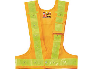 J.G.C./日本緑十字社 多機能LEDセーフティベスト 黄/赤発光/黄反射 フリーサイズ メッシュ生地 238101