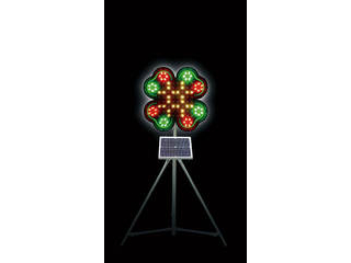 Sendaimeiban/仙台銘板 【代引不可】ネオクローバー ソーラー式大型回転灯 三脚付 電源セット 3050700
