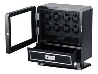 LUHW/ローテンシュラガー LU71008CB 高級8連ワインディングマシーン 【収納引き出し付き】【カーボン仕様】【ワインダー】