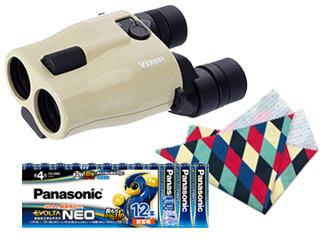 【お洒落なクリーニングクロスプレゼント!】 Vixen/ビクセン ATERA H12×30 アテラ 防振双眼鏡(ベージュ)+乾電池エボルタネオ単4形12本パックセット