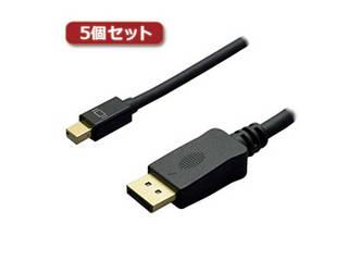 ミヨシ 【5個セット】 ミヨシ 4K対応miniDisplayPort-HDMIケーブル 2m ブラック DPC-4KHD20/BKX5