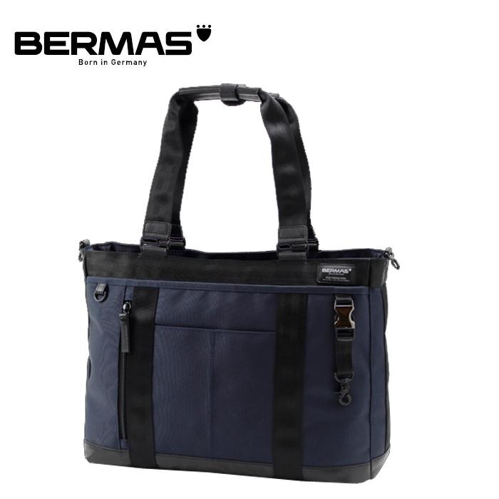 BERMAS/バーマス 60072 BAUER テフロン加工 横型トート ビジネスバッグ (ネイビー)