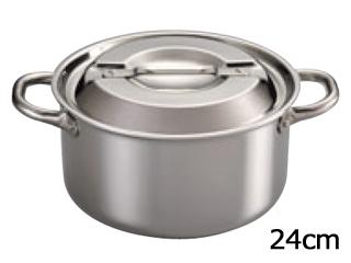 霜龍器物 ステンレス・アルミクラッド プロシード深型両手鍋 24cm