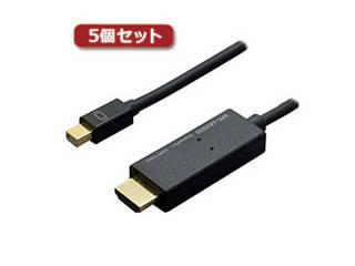 ミヨシ 【5個セット】 ミヨシ 4K対応miniDisplayPort-HDMIケーブル 3m ブラック DPC-4KHD30/BKX5