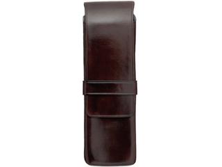 Il Bussetto/イルブセット Pen case/ペンケース 【ダークブラウン】 2本用 ペンホルダー ケース  筆箱  イタリア 万年筆