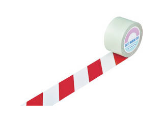 J.G.C./日本緑十字社 ガードテープ(ラインテープ) 白/赤(トラ柄) 75mm幅×100m 148103